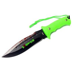 """New 9"""" Zombie-War Stainless Steel Hunting Knife With Neon Green Handle 8260"""