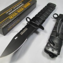 Tac-Force Assisted Opening Sawback Bowie Rescue Black Glass Breaker Knife- Gray New!