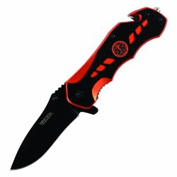 8 Inch Ems Spring Assisted Rescue Knife (Orange And Black) By Wartech Yc-S-7007-Or