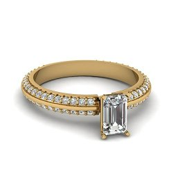 Fascinating Diamonds 1.10 Ct Emerald Cut Diamond Knife Edge Engagement Ring Micro Pave Set Vs2 14K Gia
