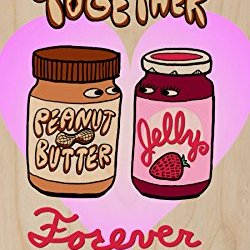 """""""Pbj Forever"""" Funny Love Heart Together Romance - Plywood Wood Print Poster Wall Art"""