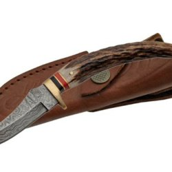 Szco Supplies Damascus Stag Tip Knife