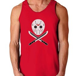 Scary Mask With Machete - Halloween Dark Loose Tank Top - Red - Small