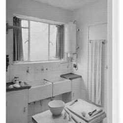 Canvas Print Of Kitchen With Two Sinks At Windrush, Enfield, Middlesex