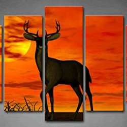 5 Panel Wall Art A Buck Standing At Attention In The Sunset Grass Shadow Painting The Picture Print On Canvas Animal Pictures For Home Decor Decoration Gift Piece (Stretched By Wooden Frame,Ready To Hang)