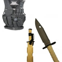 Ultimate Arms Gear Stealth Black Lightweight Edition Tactical Scenario Military-Hunting Assault Vest W/ Right Handed Quick Draw Pistol Holster + Tan Handle Stainless Steel M9 M-9 Military Survival Blade Bayonet Knife With Tactical Sheath Scabbard