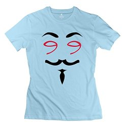 Cool Fawkes Mask T Shirts For Lady/Skyblue Tee Shirts
