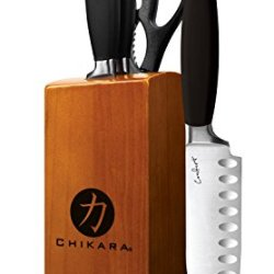 Premium Ginsu Chikara 5 Piece Stainless Steel Cutlery Knives Block Set & A Special Gift