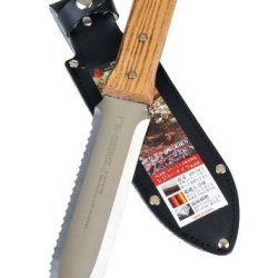 Tomita Japanese Hori Hori Garden Landscaping Digging Tool With 7-Inch Stainless Steel Blade & Sheath, Natural Wood Handle