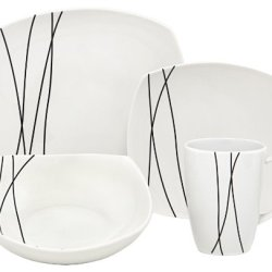 Melange Black Lines Square Porcelain 32-Piece Place Setting, Service For 8
