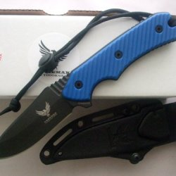 "Freeman Outdoor Gear 451 4"" Fixed Blade Knife Black Blade Blue Handle"