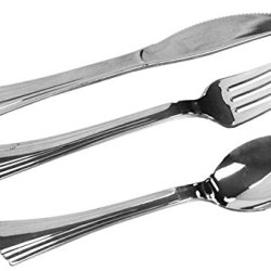 Silver Plastic Silverware, Heavy Duty Looks Like Silver Cutlery Combo Of 96 Pieces Includes 32 Forks, 32 Knives, 32 Table Spoons