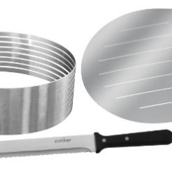 """Zenker Stainless Steel Layer Cake Slicing Kit With 12"""" Serrated Knife, 3-Piece"""