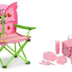 Melissa & Doug Bella Butterfly Deluxe Picnic Set - Contains Folding Chair, Picnic Basket And Place Settings For 4