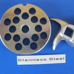 "#12 X 3/8"" Set Meat Grinder Grinding Plate And Knife For Hobart Lem Cabelas Mtn Torrey Etc. *Stainless Steel*"