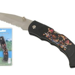 "Wild Animals Ramboo Hunting Knife Series - 3"" Blade ""Carribean Pirate Skull Theme"" Pocket Knife With Clip"
