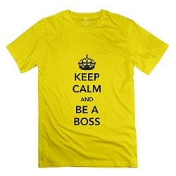 Keep Calm Be Boss Pop Mens T Shirts Size L Color Yellow