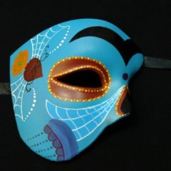 Skyblue Half Face Mexican Sugar Skull Hand-Painted Paper Mache Mask