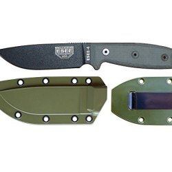 Esee Knives Model 4 Plain Edge Fixed Blade Knife (Black) With Olive Drab Molded Sheath & Belt Clip Plate