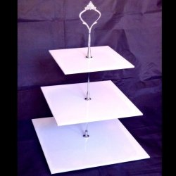 Three Tier White Square Cake Stands - Large + Silver Handle