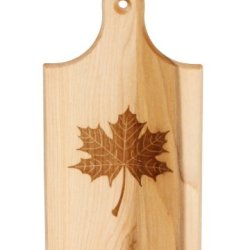 J.K. Adams Sugar Maple Wood Q-Tee Cutting Board With Laser Engraved Maple Leaf, 7-1/2-Inches By 4-Inches