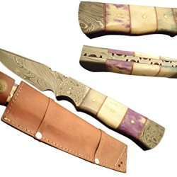 "Pioneer Custom Hand Made Hunting Full Tang Knife,With Damascus Bolster10""Pt-2312"