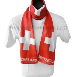 """Swiss Flag Print Scarf 64""""X8"""" One Size Fits All Switzerland Flag Wrap"""