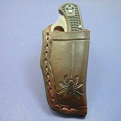 Custom Leather Vertical Knife Sheath For The Spyderco Delica 4 Edge C11Pbk. Sheath Only!