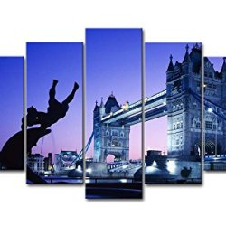 5 Panel Wall Art Painting London Tower Bridge Uk Pictures Prints On Canvas City The Picture Decor Oil For Home Modern Decoration Print