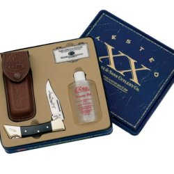 Case Cutlery 00182 Lockback Knife With Stainless Steel Blade Gift Set With Honing Oil And Pocket Stone Stainless Steel