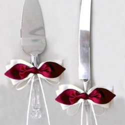 Red Satin Bow White Ribbon Cake Knife And Server Set For Wedding Or Ceremony