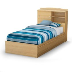 Clever Twin Mate'S Bed & Bookcase Headboard Natural Maple