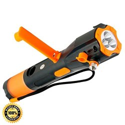 Emergency Flashlight - Rechargeable Hand Crank Flashlight And Usb Cell Phone Charger - Window Breaker - Seat Belt Cutter - Waterproof