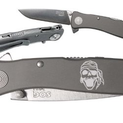Skull Pirate Patch Custom Engraved Sog Twitch Ii Twi-8 Assisted Folding Pocket Knife By Ndz Performance