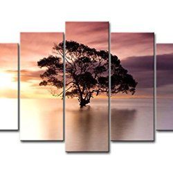 5 Piece Wall Art Painting Tree In Nudgee Beach Australia At Dusk Prints On Canvas The Picture Landscape Pictures Oil For Home Modern Decoration Print Decor For Kitchen