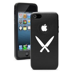 Apple Iphone 5 5S Black 5D496 Aluminum & Silicone Case Cover Chef Knives
