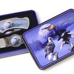 Eagle Knife & Money Clip Set In Tin Box