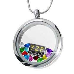 Floating Locket Set Yzf Airport Code For Yellowknife + 12 Crystals + Charm, Neonblond