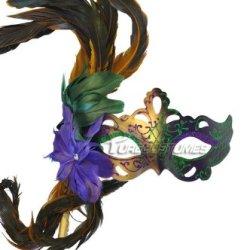 Flirty Feathers Mardi Gras Stick Mask (Gold)