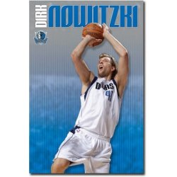 Laminated Dallas Mavericks Dirk Nowitzki Shooting Sports Poster Print - 22X34