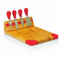 Picnic Time Artisan Bamboo Cutting Board With Cheese Tools, Red