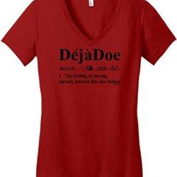 Deja Doe Definition, Funny Hunting Juniors V-Neck Large Classic Red