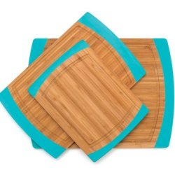 Lipper International Bamboo Non Slip Cutting Board With Silicone Sides, Blue, Set Of 3