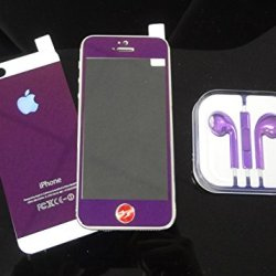 Super Space Premium Metallic Bright Plated Real Tempered Front And Back Screen Protectors Colorful Transformed Kit, 9H Strong, 0.3 Mm Thin, New Design For Apple® Iphone® 5 / Iphone® 5S, Verizon, At&T, Sprint, T-Mobile (Purple - Front & Back)