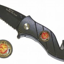 "2.5"" ""United States Marines"" Spring Assisted Mini Tactical Rescue Knife"