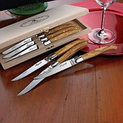 Jean Dubost Laguiole 6-Piece Steak Knives -Olivewood