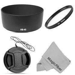 Hb-45 Dedicated Bayonet Lens Hood For Nikon Dslr (D7100 D5200 D5100 D5000 D3200 D3100 D3000 D90 D80) With 18-55Mm F/3.5-5.6G Lens + 52Mm Ultraviolet Uv Filter + Center Pinch Lens Cap + Magicfiber Microfiber Lens Cleaning Cloth