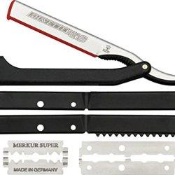 Dovo Shavette Straight Razor Folding Knife,Stainless Blade, Black Plastic Handle 201 081