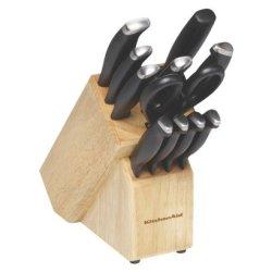 Kitchenaid Black 12Pc Delrin Handle Set In Block Kc12Ebxobt
