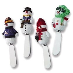 Snowman Stainless Steel And Hand Painted Resin Spreader, Set Of 4